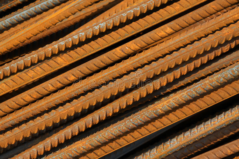Twisted steel construction materials. In a construction site stock photos