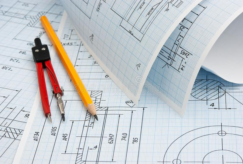 twisted technical drawing royalty free stock photo