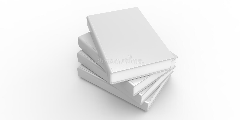 Twisted white Four books on plain background vector illustration