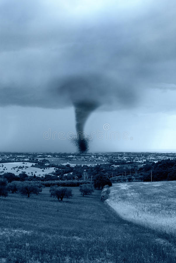 Twister on the city stock photos