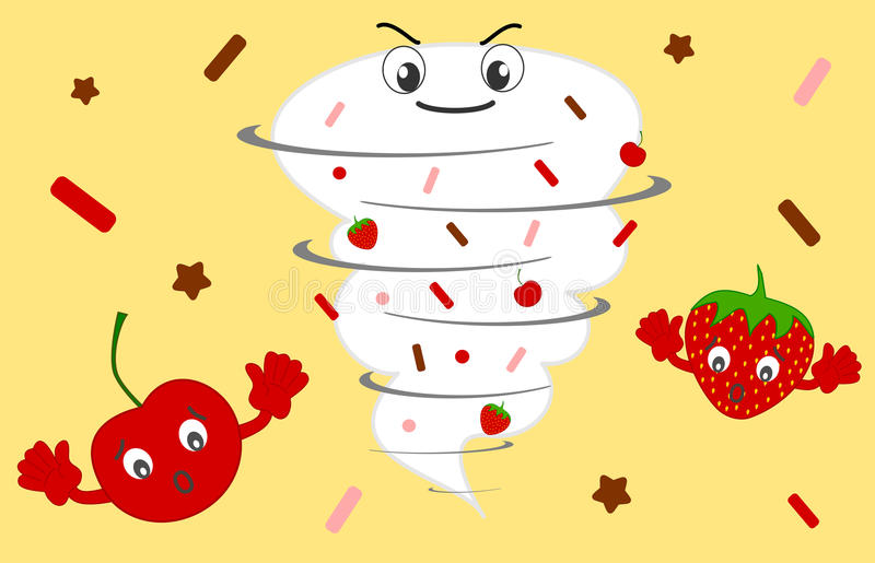 Twister tornado cartoon whipped cream with cherry and strawberry funny illustration royalty free illustration