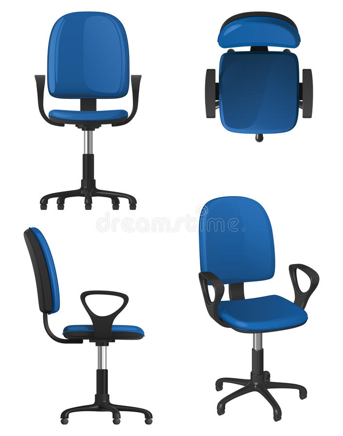 a twisting office chair on wheels with a blue upholstery seat and