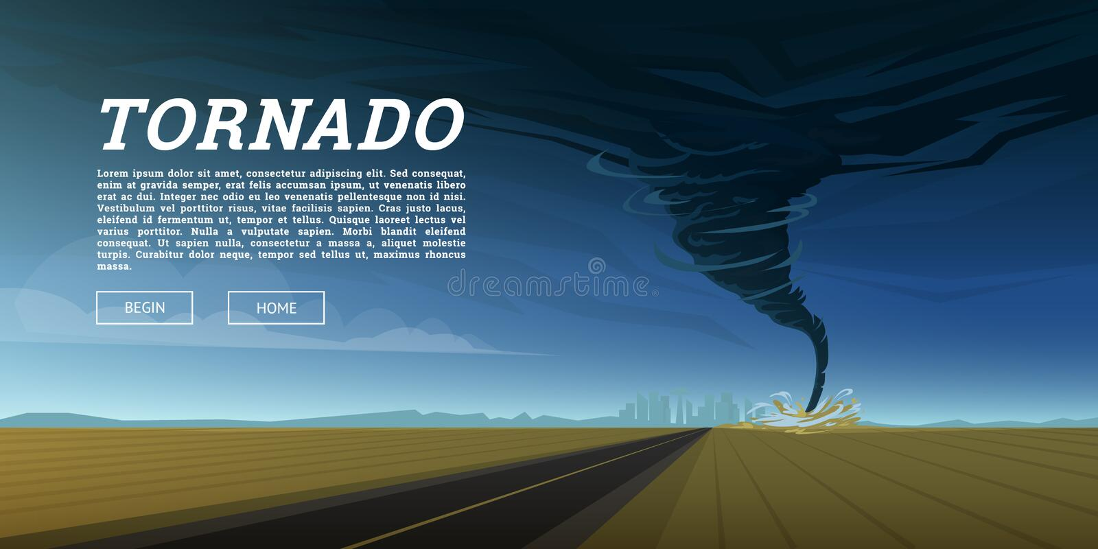 Twisting tornado or storm from sea hurricane in ocean. Realistic tropical natural disaster or cataclysm, catastrophe and royalty free illustration