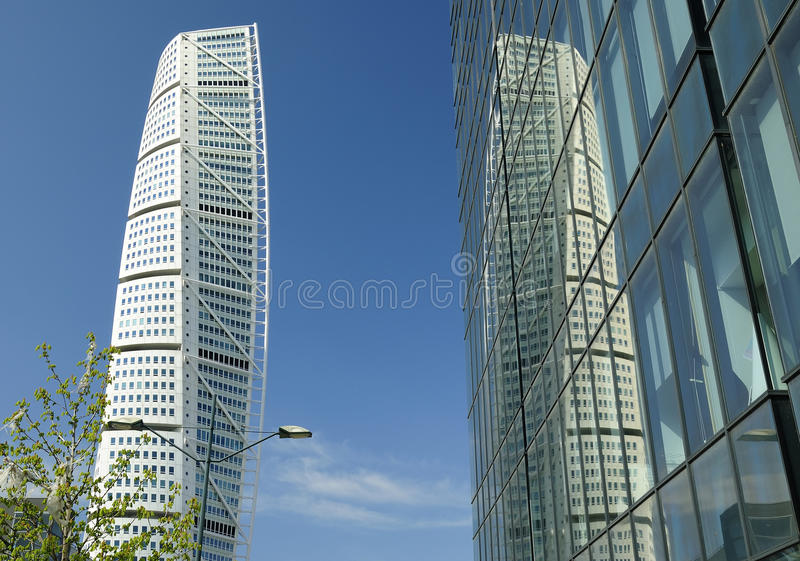 Twisty modern tower royalty free stock photography