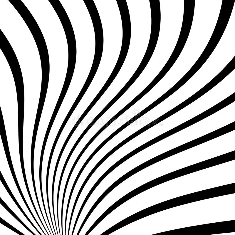 Twisty radiating lines. spiral, vortex converging, radial stripe. S with distortion - Royalty free vector illustration stock illustration