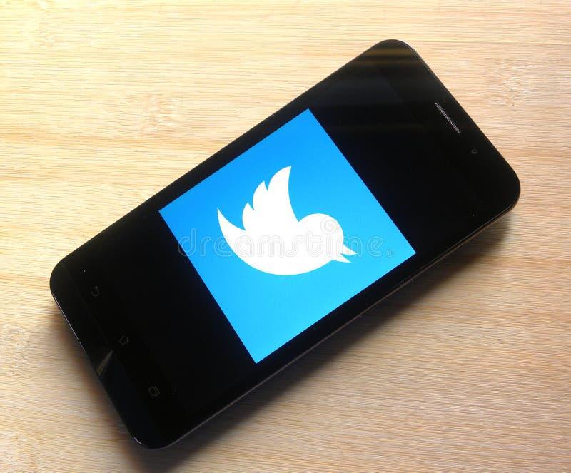 Twitter на smartphone стоковая фотография