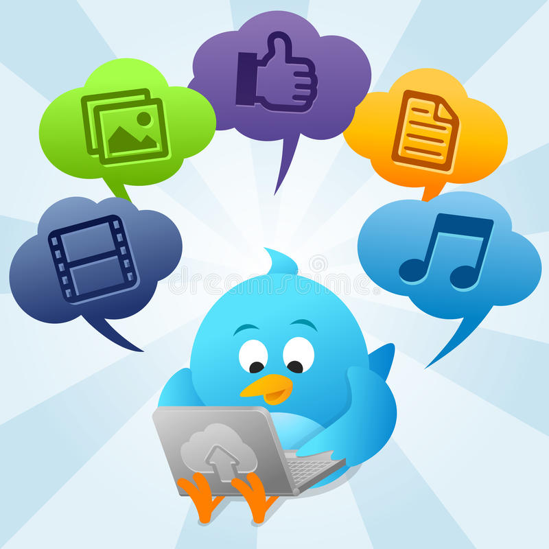 twitter облака птицы вычисляя используя иллюстрация штока