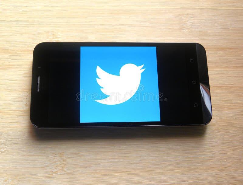 Twitter по умному телефону стоковые изображения rf