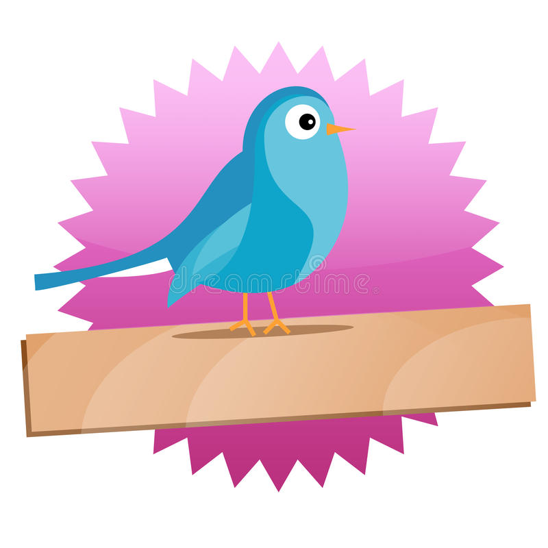 Download Twitter Badge With Blue Bird And Sign Royalty Free Stock Images - Image: 10045949