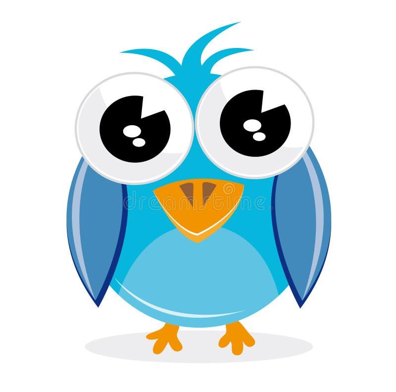 Twitter bird. Cute twitter bird with big eyes on white background