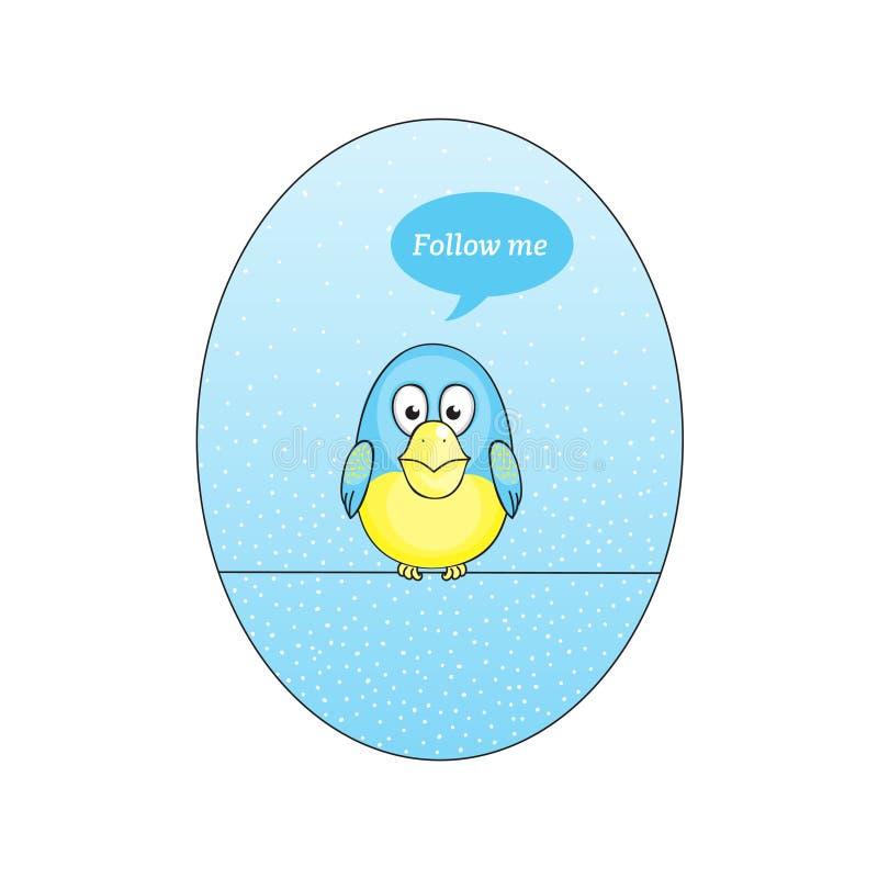 Twitter bird follow me stock illustration