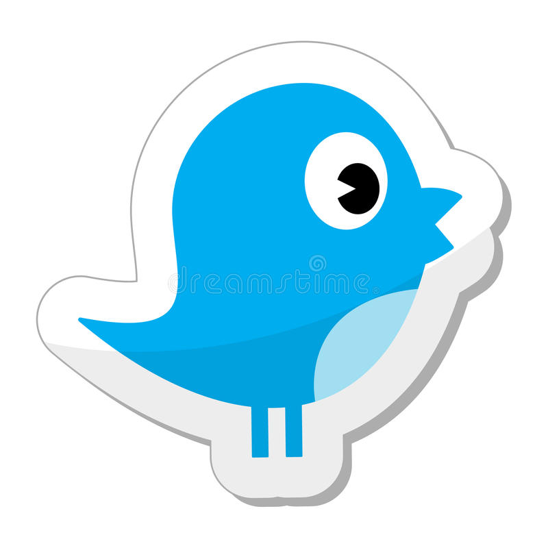 Twitter bird icon. Twitter blue bird / social media glossy icon, lable isolated on white background. EPS avaiable