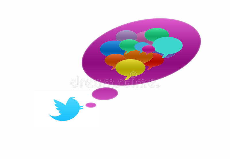Twitter bird with speech bubble in various colors vector illustration