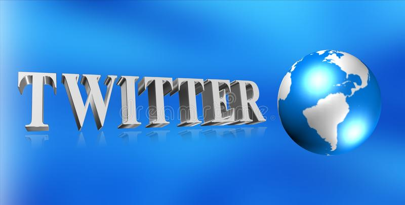 Twitter graphic. Twitter in 3D block letters with globe on blue