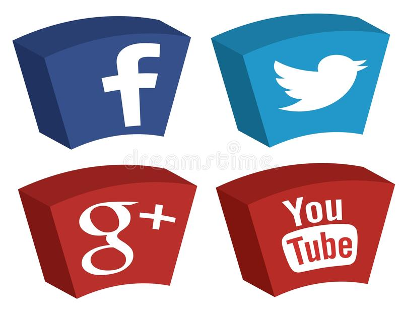 Twitter Google de Facebook plus des icônes de YouTube illustration stock