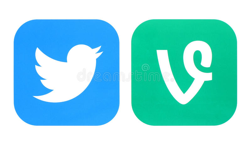 Twitter icon and Vine icons stock images