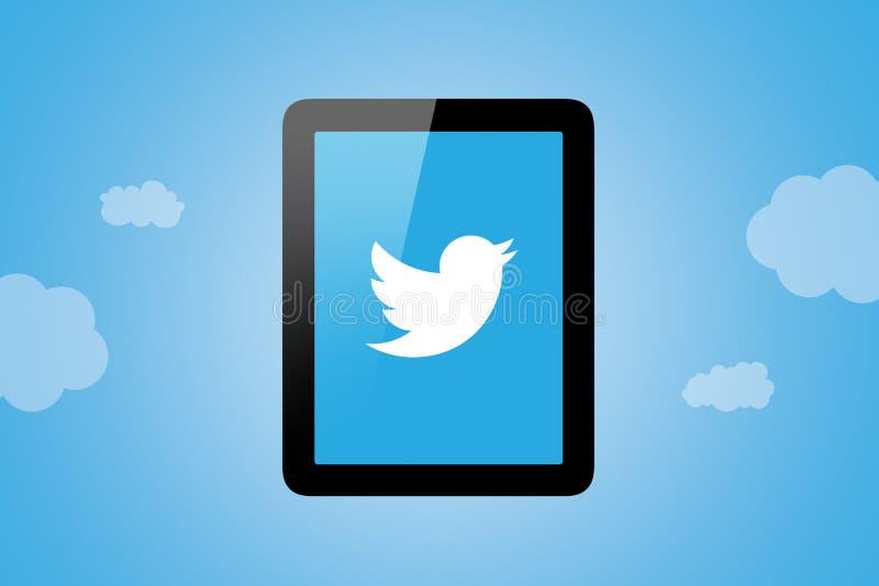 Twitter-Ikone auf Tablet-PC lizenzfreie stockfotos