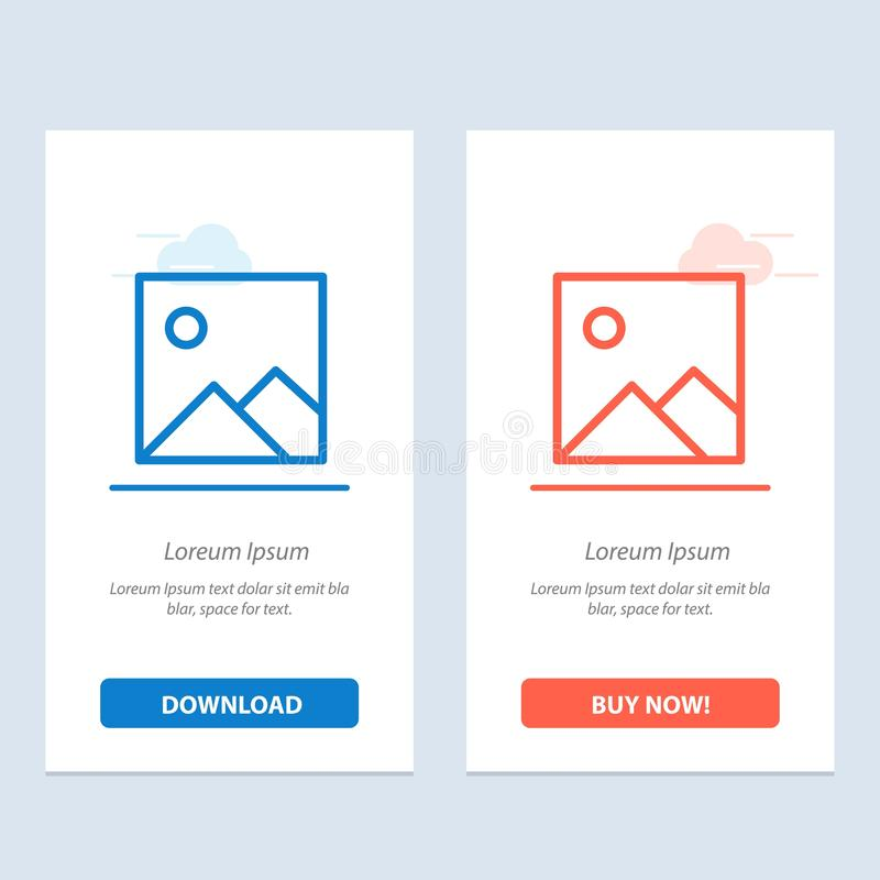 Twitter, Image, Picture  Blue and Red Download and Buy Now web Widget Card Template royalty free illustration