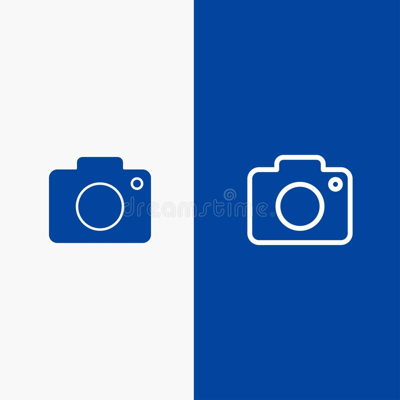 Twitter, Image, Picture, Camera Line and Glyph Solid icon Blue banner Line and Glyph Solid icon Blue banner vector illustration