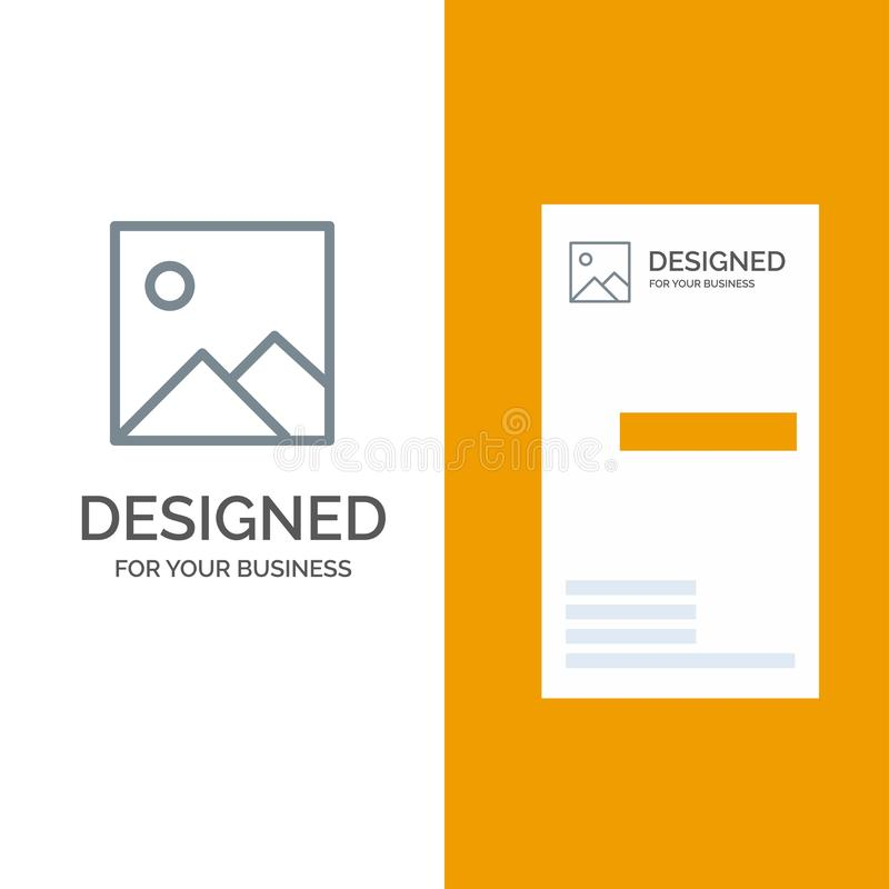 Twitter, Image, Picture Grey Logo Design and Business Card Template royalty free illustration