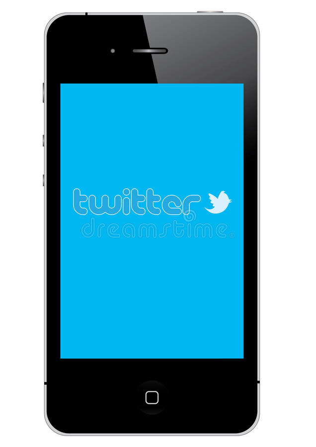 Twitter on IPhone 4S. An illustration of Iphone and Twitter social network blue background
