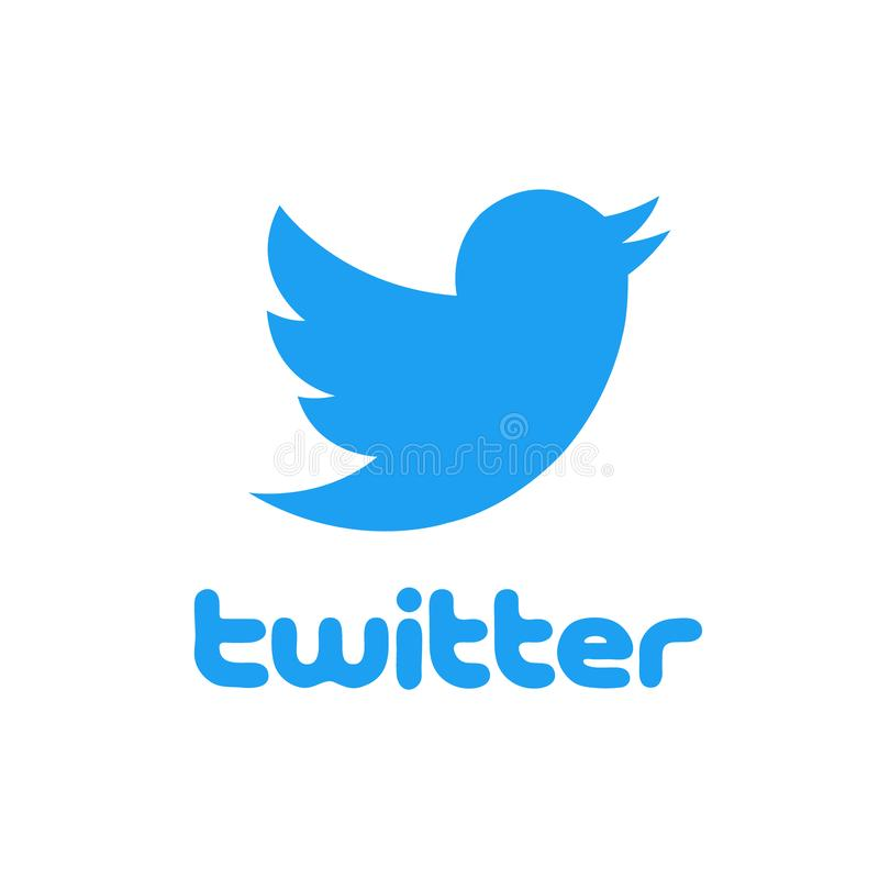 Twitter logo with bird isolated over white background. Social media and networking. stock illustration