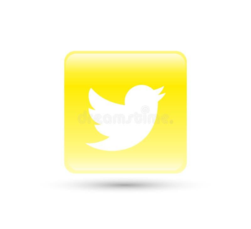 Twitter logo ikony wektor z żółtą gradientową projekt ilustracją royalty ilustracja
