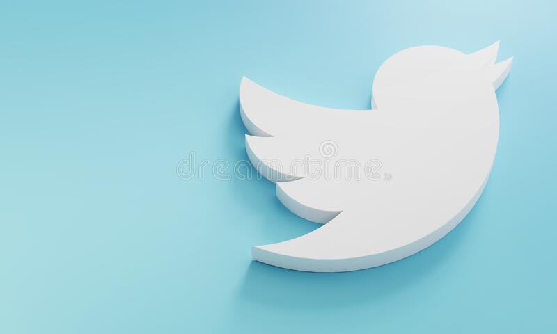 Twitter Logo Minimal Simple Design Template. Copy Space 3D royalty free stock images