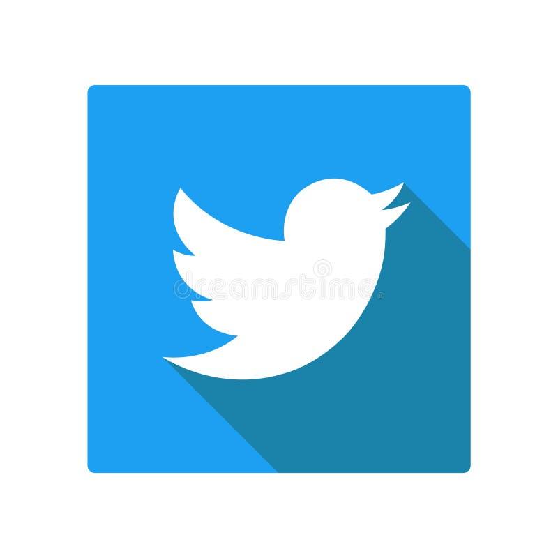 Twitter-Logoikone mit Vogel Sauberes Vektorsymbol Baumuster 3D auf Weiß vektor abbildung