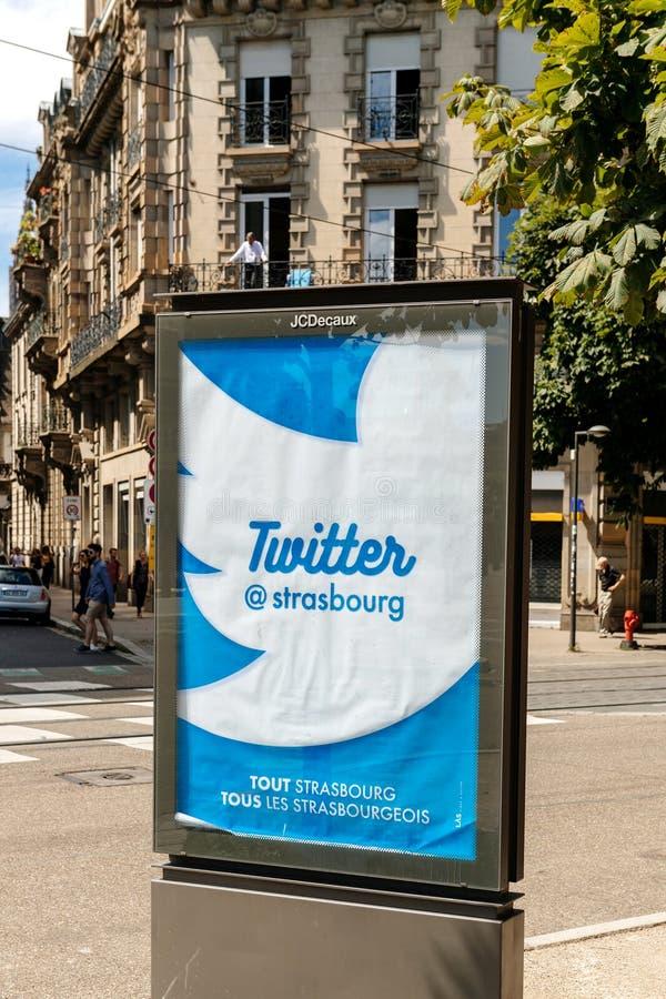 Twitter para la cuenta del Ayuntamiento del @strasbourg fotografía de archivo