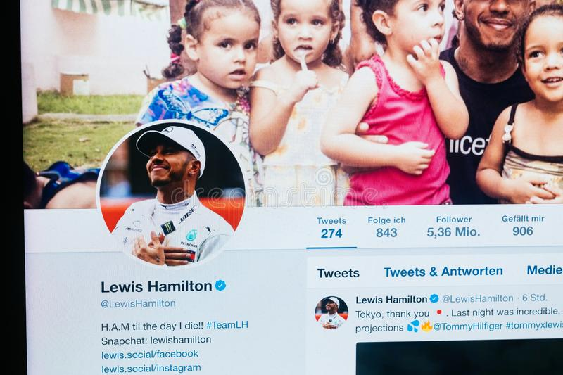 Twitter profile of Lewis Hamilton from October 2018 royalty free stock photo