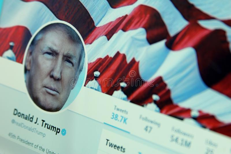 Donald Trump twitter. Twitter profile of President of United States of America Donald Trump on laptop screen stock photo