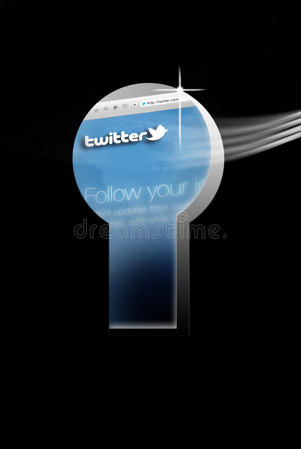 Twitter Security Firewall Key Issue Editorial Stock Image