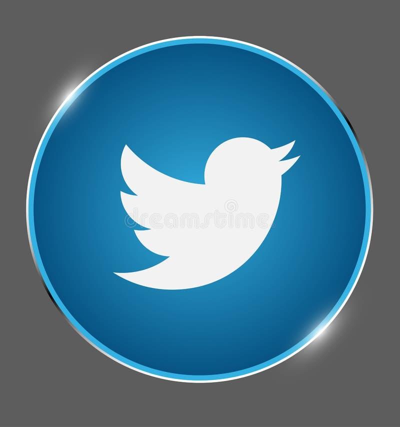 Twitter, sociale media, deelt, babbelt embleem in mee glanst medaillevector stock illustratie