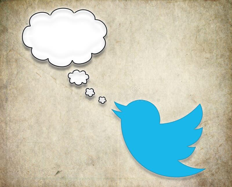 Twitter-Vogel fasst Spracheblase ab stock abbildung