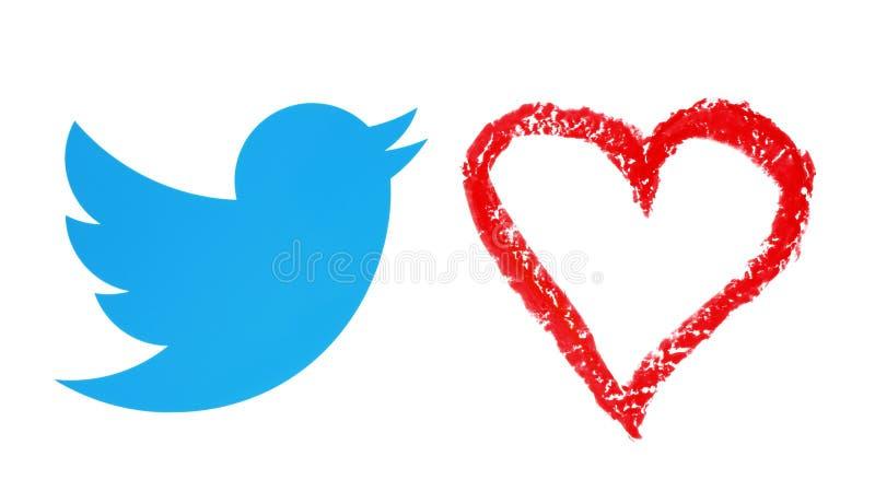 Twitter-Vogel mit Handgezogenem rotem Herzen vektor abbildung