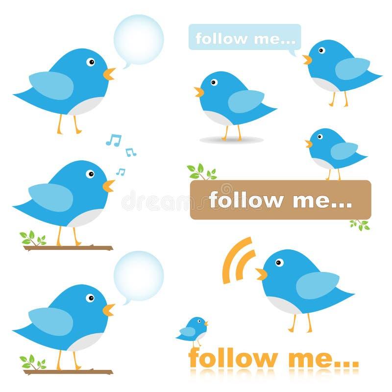 Twittervogelikonen stock abbildung