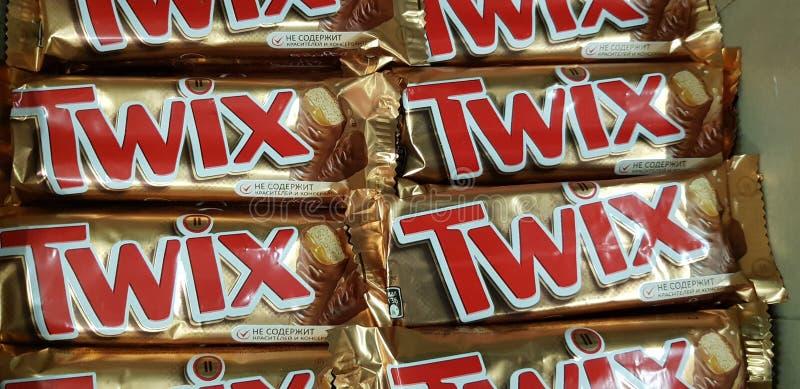 Twixchocolade in de opslag royalty-vrije stock foto's