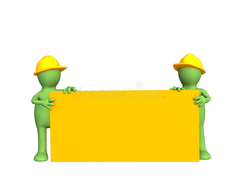 Two 3d builders - puppets, the holding empty form royalty free illustration