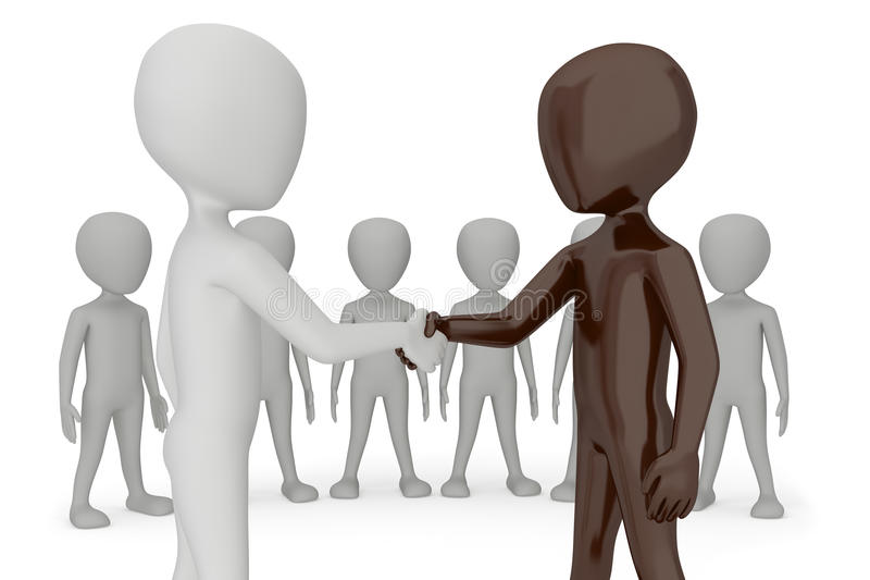 Two 3d humans give their hand for handshake. vector illustration