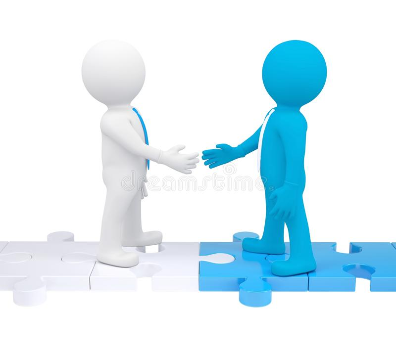 Two 3d people shaking hands vector illustration