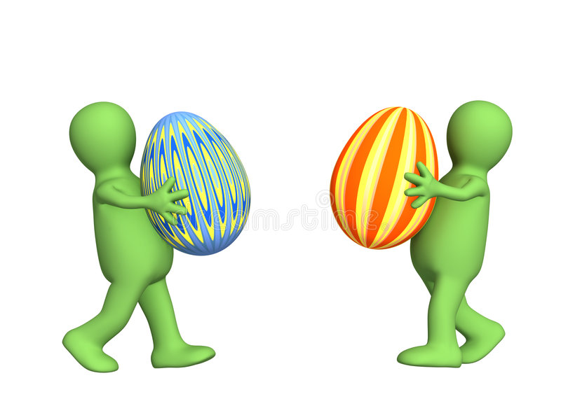 Two 3d persons - puppets, carrying easter eggs stock illustration