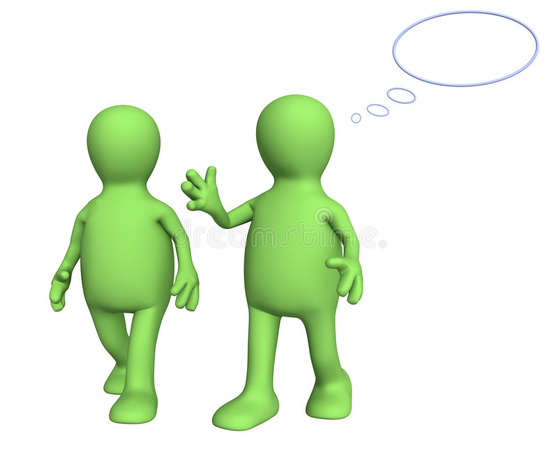 Two 3d puppets, talking on walk vector illustration