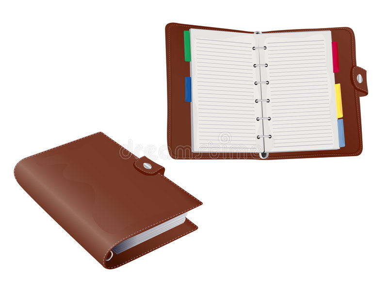 Two 3d Vector Filofax Organisers. Two 3d Vector Leather Filofax Organisers stock illustration