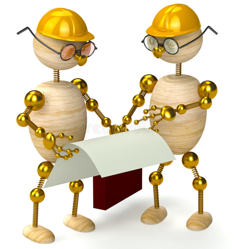 Two 3d wood man engineers stock illustration
