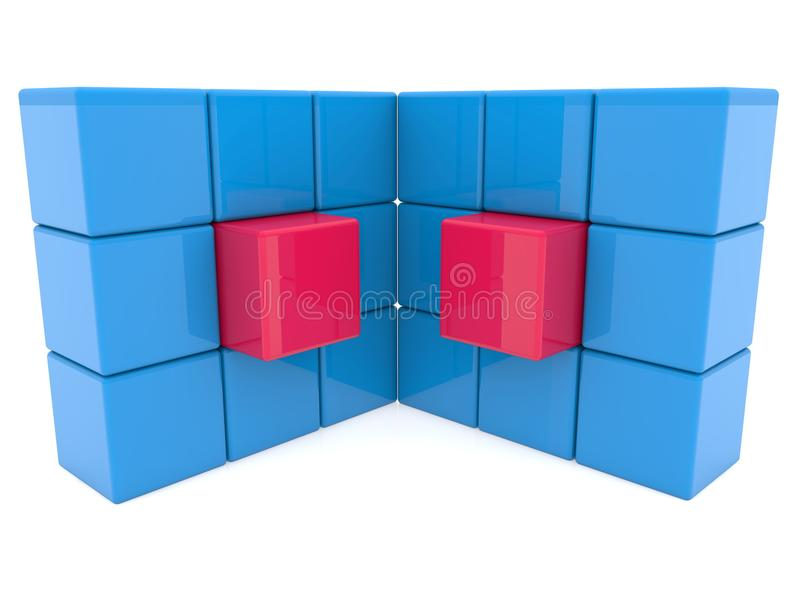 Two abstract cube walls royalty free illustration