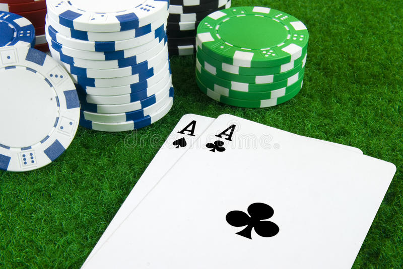 Download Two Aces And Some Pokerchips Stock Photo - Image of cubes, vegas: 11260360