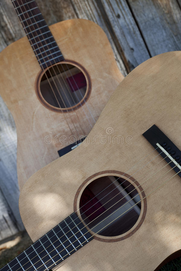 Two Acoustic Guitars royalty free stock photos