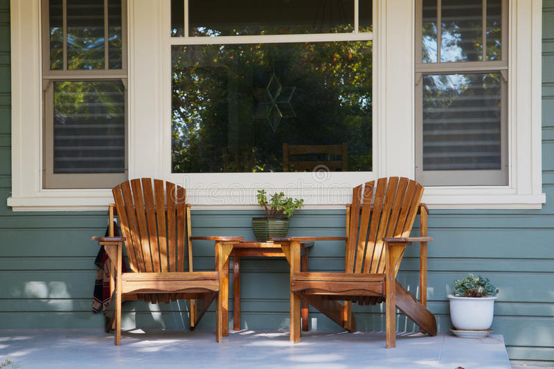 Two Adirondack Chairs Porch Stock Image Image Of Country