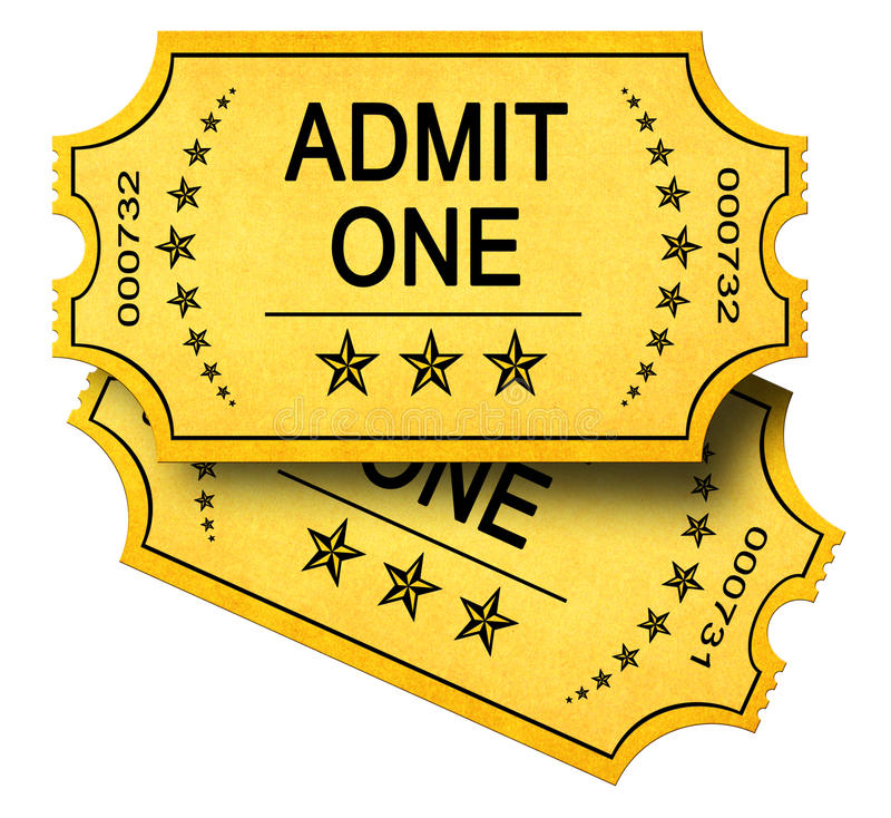 Two Admit One Tickets stock photo